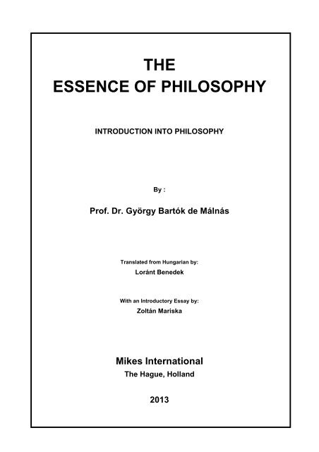 Essence of Philosophy