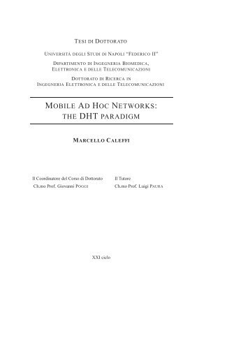 Mobile Ad Hoc Networks: the DHT paradigm - FedOA