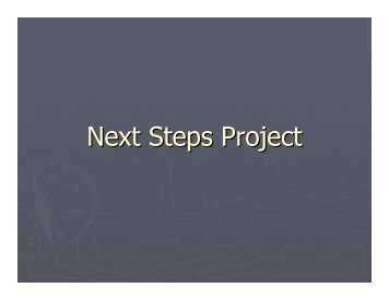 Next Steps Project - National Federation of Voluntary Bodies