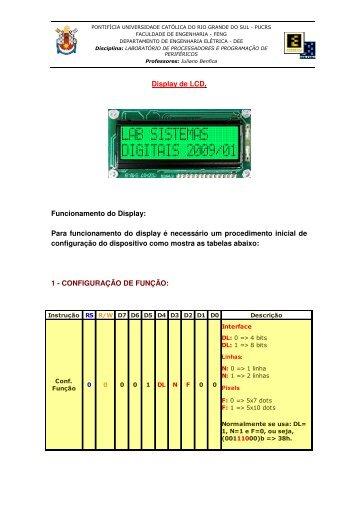 Tutorial de uso de um LCD 16x2 - Faculdade de Engenharia - pucrs