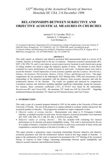 relationships between subjective and objective acoustical measures ...