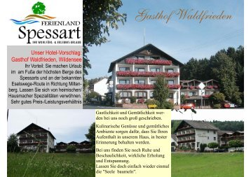 Zur Hotelbeschreibung Gasthof Waldfrieden - Ferienland-spessart.de