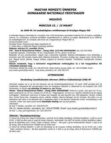 Magyar Nemzeti Ünnepek - Meghívó - Hollandiai Magyar Szövetség
