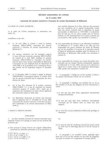 Décision 2010/639/PESC du Conseil du 25 octobre 2010 ... - EUR-Lex