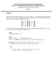 Kurs 1612 ?Konzepte imperativer Programmierung? Kurs 1613 ...