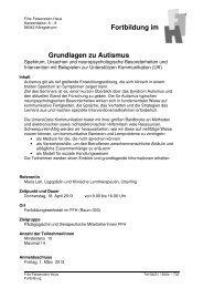 Grundlagen zu Autismus Fortbildung im - Fritz-Felsenstein-Haus