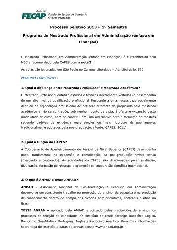 Processo Seletivo 2013 – 1º Semestre Programa de ... - Fecap