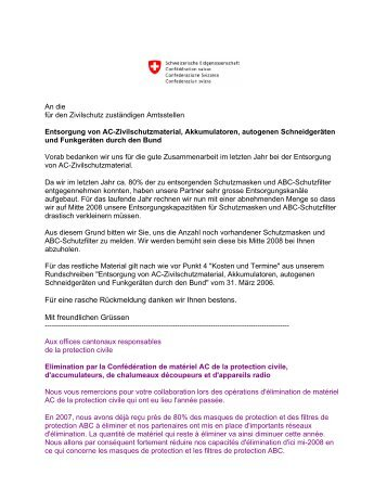 Lettre circulaire - Bevölkerungsschutz - CH