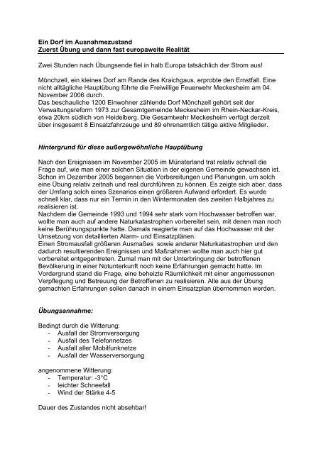 Bericht in der Brandhilfe - Feuerwehr Meckesheim