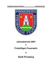 Jahresbericht 2001 - Freiwillige Feuerwehr Pinneberg
