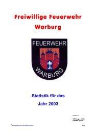 Freiwillige Feuerwehr Freiwillige Feuerwehr Warburg Statistik für ...