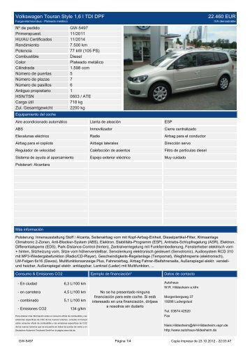 Volkswagen Touran Trendline 2 0l FSI 10.900 EUR