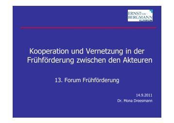 Kooperation und Vernetzung in der Frühförderung zwischen den ...