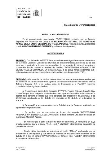Ps-00117-2009 resolucion-de-fecha-05-10-2012 art-ii-culo-9-Lopd
