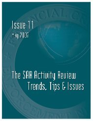 SAR Activity Review, Trends, Tips and Issues, Issue 11 - ffiec