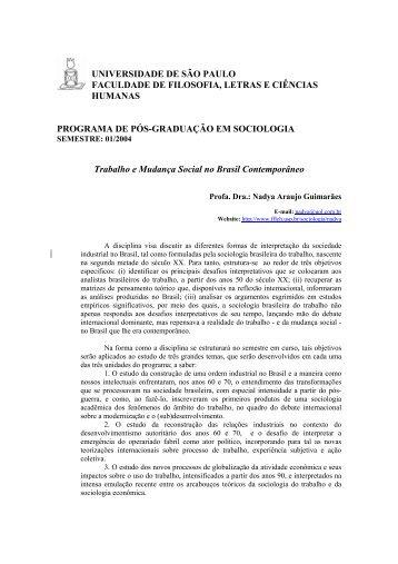 Programa, Bibliografia e Cronograma - fflch - USP