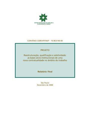 Relatório à Finep, Projeto Cebrap, dezembro de 2000 - fflch - USP