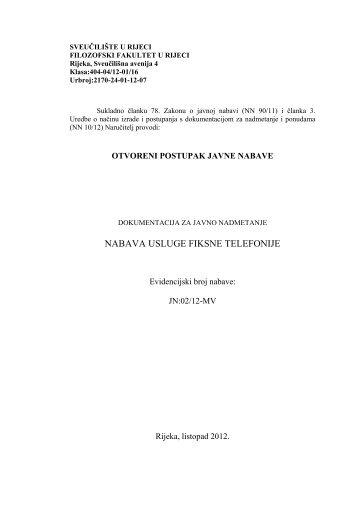 Dokumentacija za nadmetanje – fiksna telefonija - Filozofski fakultet ...