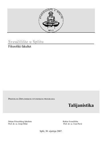 Talijanistika - Filozofski fakultet u Splitu