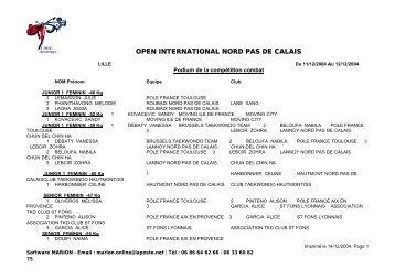 OPEN INTERNATIONAL NORD PAS DE CALAIS - fftda