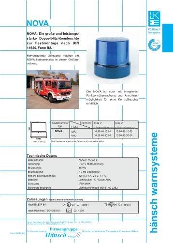 Produktinformation NOVA/NOVA-S - Hänsch