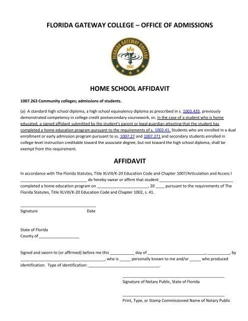 FGC Home School Affidavit - Florida Gateway College