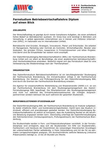 Infopapier zum Quereinstieg in den Diplomfernstudiengang ...