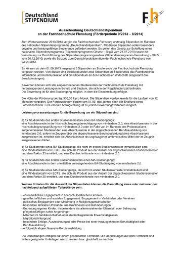 ausschreibung deutschlandstipendium an der fachhochschule - Bewerbung Deutschlandstipendium