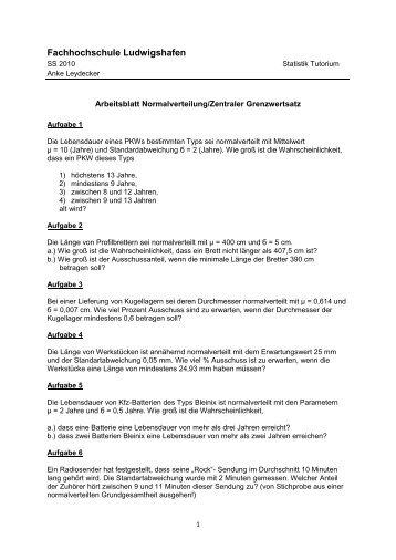 Arbeitsblatt 5 - Normalverteilung/ZGS - Fachhochschule ...