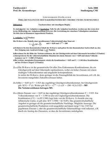 Fachbereich I SoSe 2008 Prof. Dr. Kronenberger Studiengang CMI ...