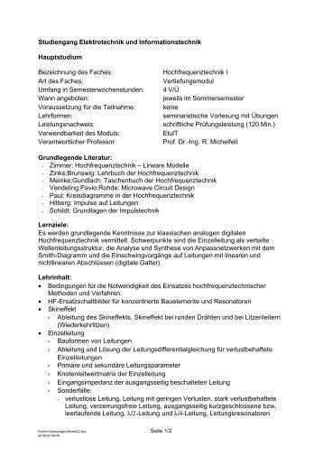 Studiengang Elektrotechnik und Informationstechnik Hauptstudium ...