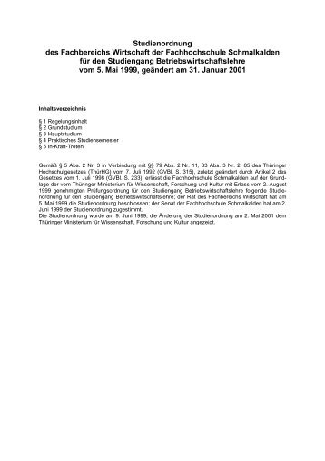 Studienordnung des Fachbereichs Wirtschaft der Fachhochschule ...