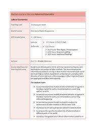 Elective course in the area Advanced Economics Labour Economics