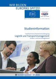 Studieninformation LOGT BA (PDF, 779,35 kB) - FH des BFI Wien