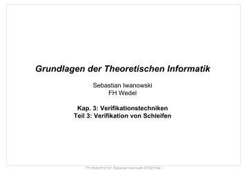 Verifikation von Schleifen - FH Wedel