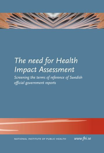 The need for Health Impact Assessment, 223 kB