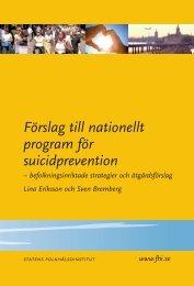 Förslag till nationellt program för suicidprevention, 969 kB - Statens ...