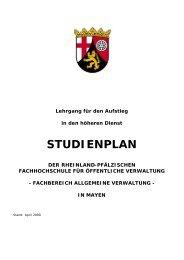 Studienplan Aufstieg - Fachhochschule für öffentliche Verwaltung