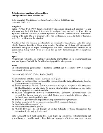 Adoption och psykiska hälsoproblem - Statens folkhälsoinstitut