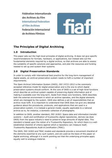 Digital Preservation Principles - FIAF