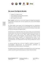 Die neuen Fiat MyLife Modelle - Fiatpress.at
