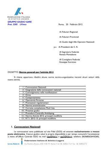 Norme generali per l'attività 2012 - Fidal
