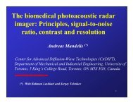 The biomedical photoacoustic radar imager - Fields Institute ...