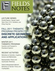 DISCRETE GEOMETRY AND APPLICATIONS - Fields Institute ...