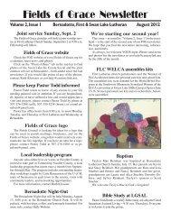 FOG Aug 2012 newsletter - Fields of Grace Parish