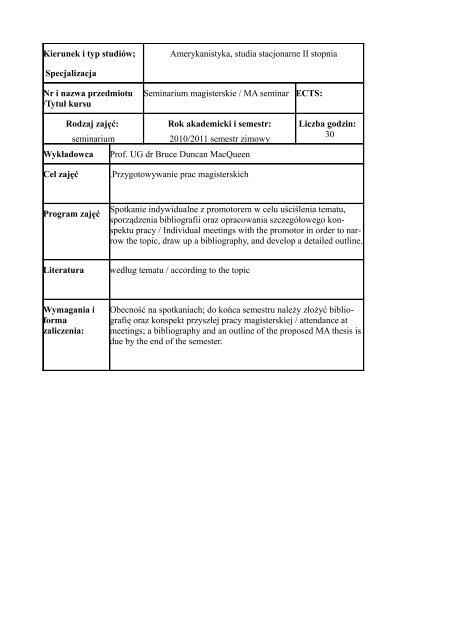 Kierunek I Typ Studiów Specjalizacja Amerykanistyka Studia