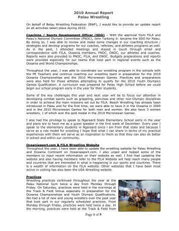 Page 1 of 5 2010 Annual Report Palau Wrestling - FILA