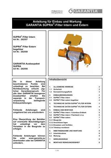 Anleitung für Einbau und Wartung GARANTIA SUPRA -Filter Intern ...