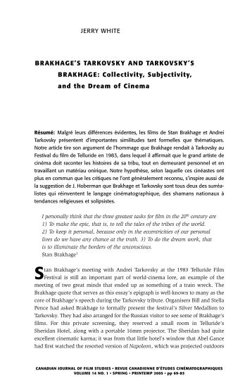 pdf telling time essays of a visionary filmmaker film studies  brakhage s tarkovsky and tarkovsky s brakhage film studies