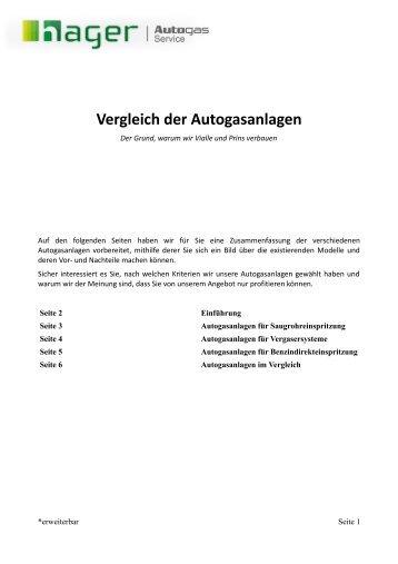 Vergleich der Autogasanlagen - Hager Autogas Service
